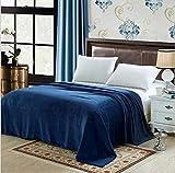 Pangzi Solid Flannel Plush Bedding Flat Sheet,Velvety Soft Heavyweight (Twin, Navy)