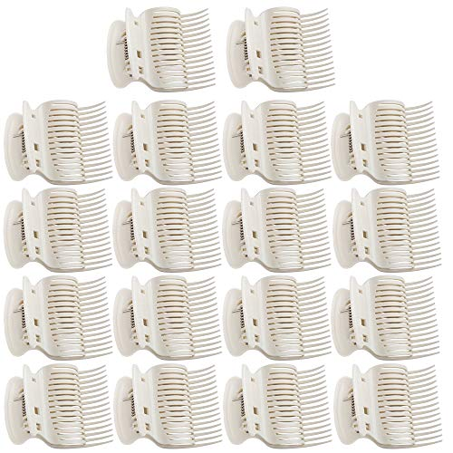 18 Pieces Hot Roller Clips Plastic Hair Curler Claw Clips Replacement Roller Clips for Small, Medium, Large and Jumbo Hair Rollers (White)
