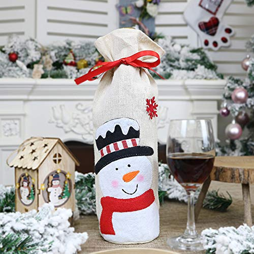 Yiwa Couverture de Bouteille de vin Rouge de Noël Old Man Bonhomme de Neige Elk Wine Bag Home Supplies Décorations de Noël Set de Bouteilles en Toile de Jute Bonhomme de Neige