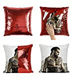 Sexy Jason Momoa As Khal Drogo In Got_MA0623 Pillow Cover Sequin Mermaid Flip Reversible Almohada Meme Emoji Actor Girls Boys Couch Office Sofa (Cover Only)