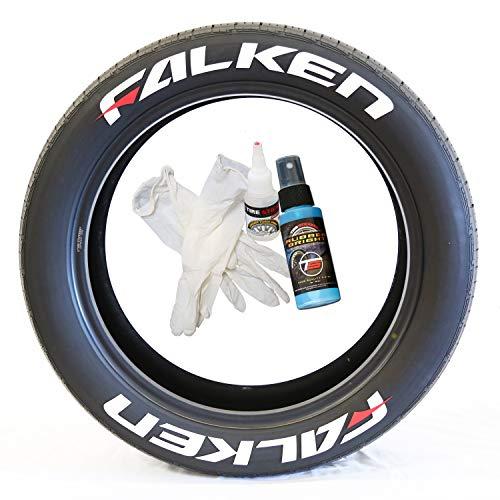 Tire Stickers Falken Rouge Dash - Accessoire d'appoint pour Le Marquage des Pneus - Kit De Bricolage avec Colle & Nettoyant / 19-21 inch Wheels / 0.75 inches/White/Red / 8 Pack