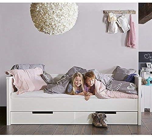 lounge-zone Tagesbett Jugendbett Kinderbett Bett G ebett JANNY Holz Kiefer Weiß90x20cm   mit Bettschubladen 14109