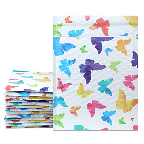 UCGOU 6x10 Inch Colorful Butterfly Poly Bubble Mailers Padded Envelopes Boutique Custom Bags Pack of 25Pcs