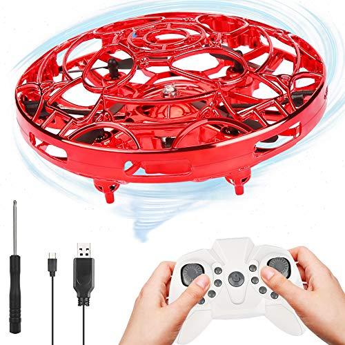 OVAREO Mini Drohnen für Kinder ,UFO Mini Drohne , Infrarot Induktions Fliegender mit Fernbedienung LED Beleuchtung Fliegendes Spielzeug Geschenke für Kinder und Familie (Rot)