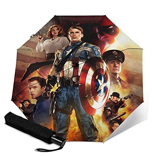 Capitán América paraguas automático de tres pliegues impermeable y protector solar, resistente y duradero, puede abrir y cerrar automáticamente protección UV paraguas de viaje plegable