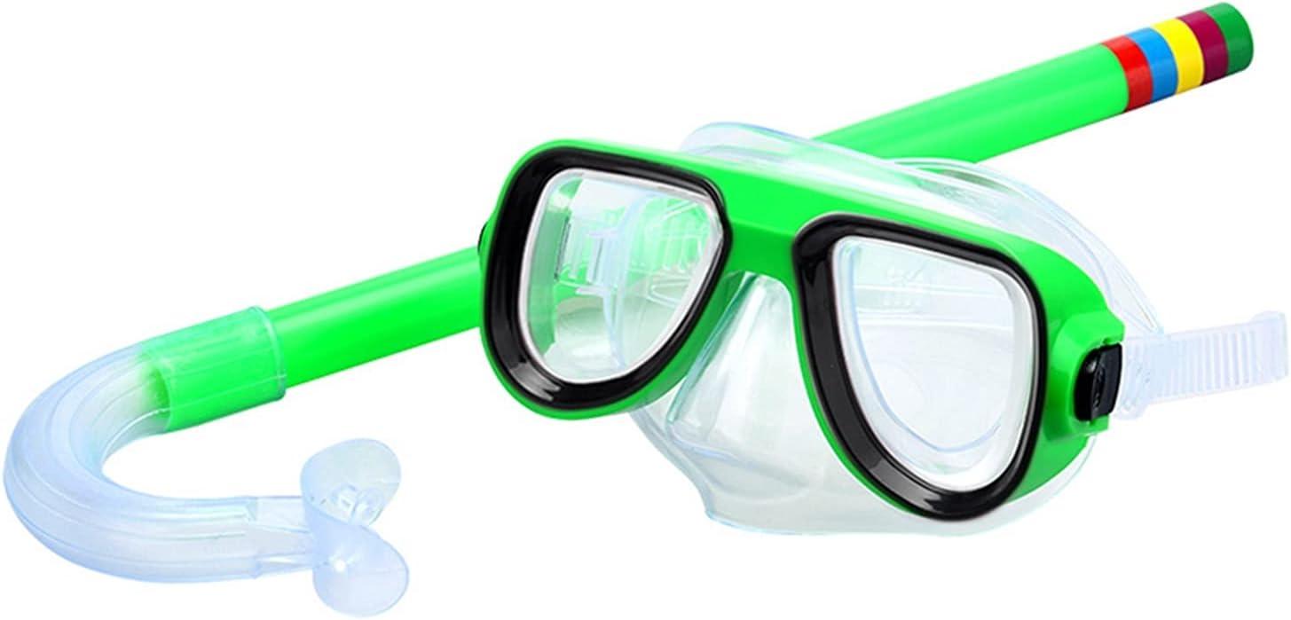 Gafas de natación para niños Gafas de buceo infantil Natación Scuba Snorkel Swim Afile Mascarilla Mascarilla Vidrio Gafas de natación Aletas de natación Accesorios de natación ( Color : Green )