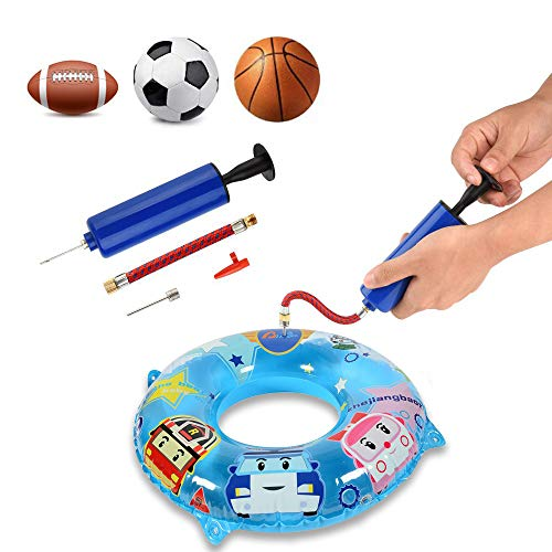 AOBETAK Hand Air Ball Pump Kit, Portable Inflation Balloons Pump with 7 Needles 1 Nozzle and 1 Valve Adapter for Basketball, Football, Volleyball, Yoga Ball and other Inflatables