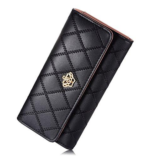 Women's wallet Elegant Clutch Crown Wallet Long Purse Leather Wallet, Black, Large