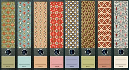 8er Set breite Ordnerrücken Pattern Ordner Etiketten Ordneraufkleber Aufkleber Deko 321 322