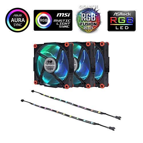 IN WIN Aurora RGB Kit 3 Ventole RGB 120mm con 2 Strisce LED - con Controllo Software per Case e Pc Gaming - Nero