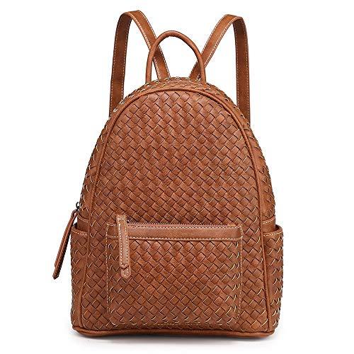 Women Backpack Purse Woven Trendy Stylish Casual Dayback Handbag (Small, Tan)