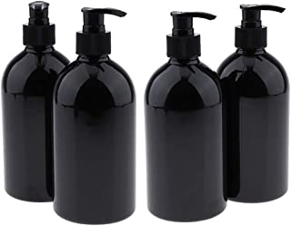 Round 500ml Empty Plastic Bottles With Pump Large Capacity Makeup Containers Refillable For Shampoo, Lotions, Liquid Body Soap, Creams(4Pcs)