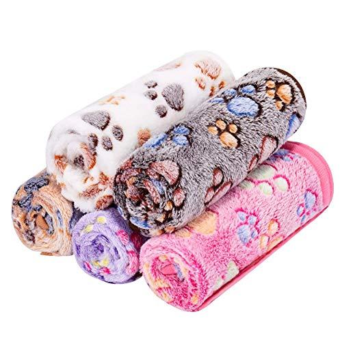 Cxssxling 5 Stück Haustierdecke Flauschige Super Softe Plüsch Katzendecke Waschbar Warme Sofakissen Weiche Matte Bettdecke für Haustier Hund und Katze