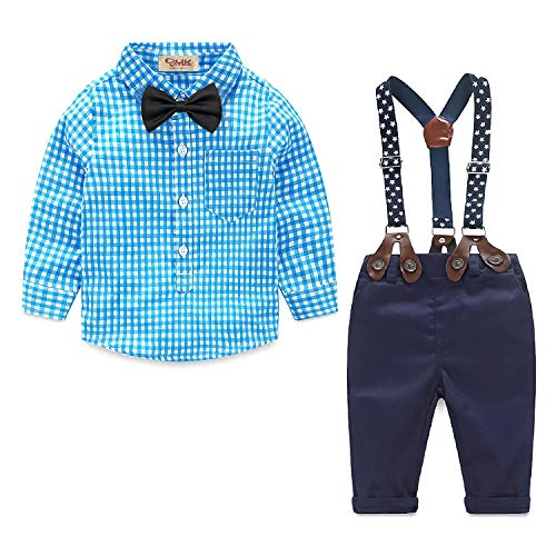 Summer Baby Boy Outfits Toddler Boys Dress Clothes Infant Kids Formal Dress Suit Gentelman Set (18-24 Months, Blue)