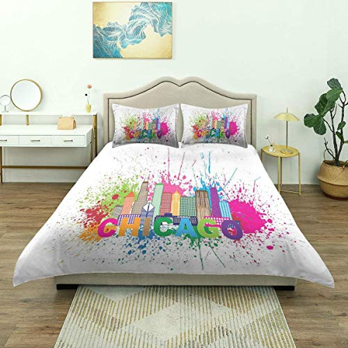 Duvet Cover,Splash of Colorful Paint Background with Text Chicago and Cityscape, Microfiber Bedding Set,Comfy Lightweight