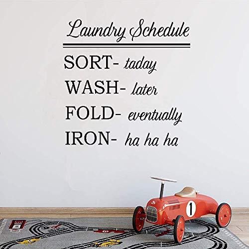 Accent Muurdecoratie Sticker Wasserij Schema Sorteren Vandaag Was Later Vouw Uiteindelijk voor Wasruimte Home Decor 22.8x22.8 in