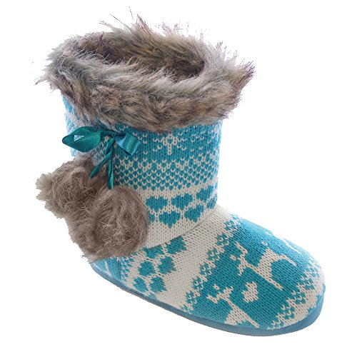 Childrens Girls Reindeer Pattern Knitted Winter Boot Slippers (UK Shoe 9-10, EUR 27-28 (smallest)) (Turquoise)