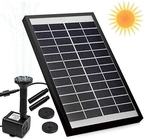LONG-X Bomba De Fuente Solar De 5 W, Fuente De Bomba De Agua Solar 500L / H, con 6 Boquillas, para Baño De Pájaros, Pecera, Estanque O Decoración De Jardín
