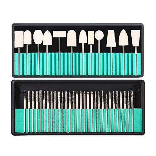 Punta da trapano per unghie, risparmio 30pcs in acciaio inox + 12pcs risparmio di lana - colore per lucidante Manicure Pedicure