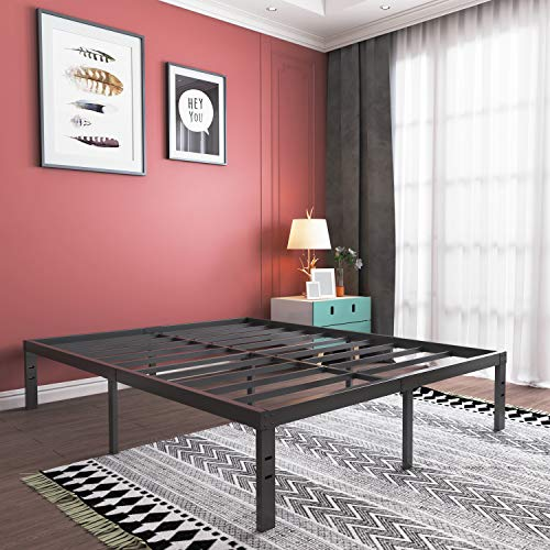 King Size Bed Frame-16 Inch Tall Sturdy Platform Bed Base-Extra Heavy Duty Strong Steel Solid Metal Foundation- Easy Assemble/ Noise Free/ Non-Slip/ Squeaky Free/No Box Spring Needed/King