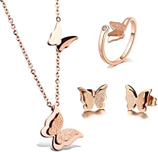 18k Rose Gold Butterfly Stud Earrings Necklace Ring Set for Women