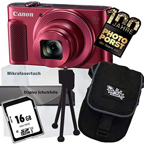 1A Photo PORST Aniversario Oferta Canon PowerShot SX620 HS Rojo+Mini trípode+Pantalla Película Protectora+SD Tarjeta de Memoria de 16 GB+Bolsa+Tela de Microfibra