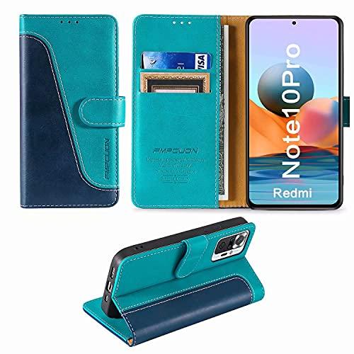 FMPCUON Handyhülle für Xiaomi Redmi Note 10 Pro/Note 10 Pro Max Hülle Leder,Premium Klapphülle Handytasche Flip Hülle Handy Hüllen Schutzhülle für Xiaomi Redmi Note 10 Pro (6.67 Zoll),Blau/Grün