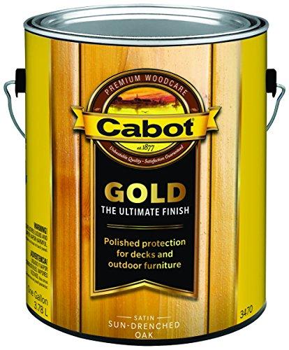 Cabot 140.0003470.007 Gold Deck Varnish, Gallon, Satin, Sun-drenched Oak