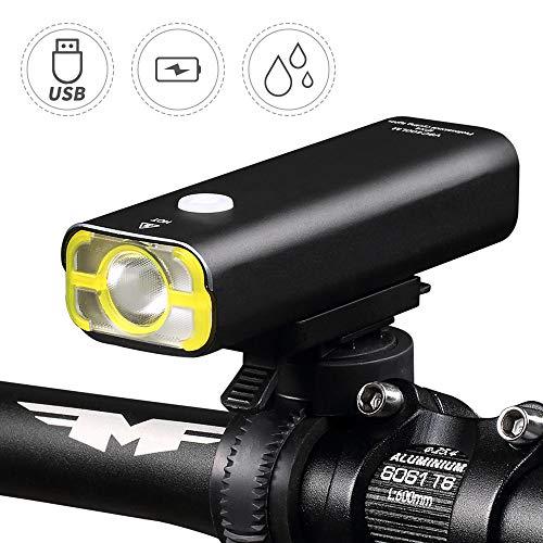 Arkmiido Fahrradscheinwerfer, USB wiederaufladbare Fahrradlampe, Eingebaute Batterie Radfahren Licht, wasserdichte Fahrrad-Frontleuchte, Schwarz.