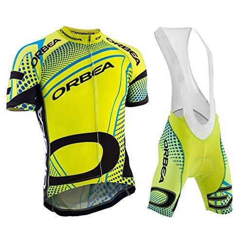 Tuta Abbigliamento da Ciclismo Completo Ciclismo Uomo Maglia Bici Manica Corta+Pantaloncini Ciclismo con 3D Cuscino