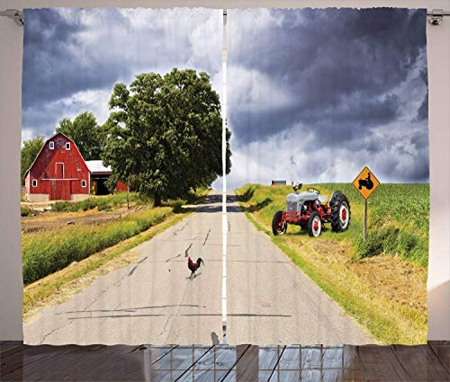 Rural Curtains, Farmhouse on The Country Road with Barn and Tractor on Side in Stormy Day Picture, Thermal Insulated Curtains with Print Pattern, Window Curtains for Bedroom Living Room, 2 Panels