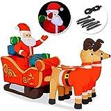 Kesser® Aufblasbarer Weihnachtsmann mit Schlitten XXL Nikolaus Rentiere Weihnachten Santa Claus Deko LED Beleuchtet inkl. Befestigungsmaterial Weihnachtsdekoration Weihnachtsdeko