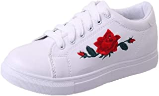 Women's Casual Shoes, Embroidery Flat Shoes Trainers (Color : White, Size : 3 UK)