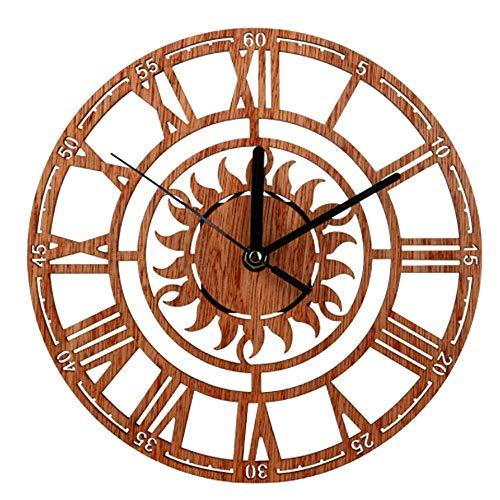 RANRANJJ Creativo Reloj de Pared Redondo Romano Personalidad Digital Reloj Dormitorio Barra de Estudio Movimiento de Cuarzo de Madera Sin Marco Forma de Sol 9 Pulgadas