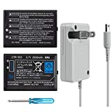 TFSeven 2Pcs 2000 Mah Rechargeable Lithium Ion Nintendo 3DS Replacement Battery + AC Adapter 4.6V 0.9A Wall Travel Power Supply Compatible for Nintendo 3DS Accessories Kit