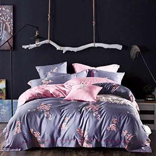 Yaonuli dekbedovertrek van katoensatijn, 4-delig, lange lus, hoge kwaliteit, voor tuinplanten, matrasbeschermer, 1,8 m, regen, bed met 1,5 m