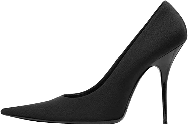 Themost Women's Pointy Toe Sheepskin Leather Stiletto Party Pumps(Black,40)