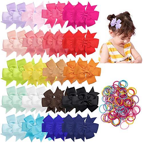 Czemo 40 Piezas 3 Pulgadas Niñas Grosgrain Ribbon Lazos Pinzas para el Cabello Accesorios para Pelos para Niños Pequeños Niños Adolescentes (20 Colores)
