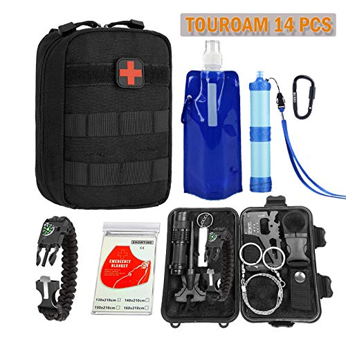 TOUROAM Emergency Survival Kit|Tactical Admin Pouch,Water Filter...