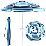 Goplus Ombrellone da Spiaggia con 8 Stecche, ombrellone da Mare con palo in Ferro e Lega di Zinco da 2,2 m, con Borsa di Trasporto (Gessato Blu)