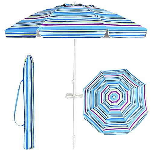 Goplus Ombrellone da Spiaggia con 8 Stecche, ombrellone da Mare con palo in Ferro e Lega di Zinco da...