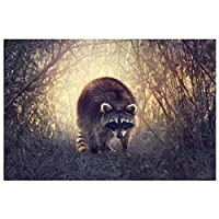 Ipea 茂みの中のアライグマ動物壁アートキャンバスポスター絵画写真壁の装飾部屋の装飾家の装飾(19.69X29.52インチ)50X75Cmフレームなし