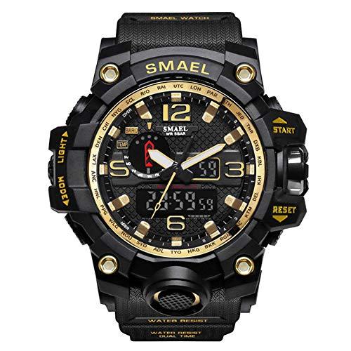 SMAELBand Männer Military Watch 50m wasserdichte Armbanduhr LED Quarzuhr Sportuhr Männliche Sportuhr Men S Shock,Gold