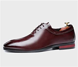 Leather Business Oxfords for Men Formal Dress Shoes Square Toe Lace up Synthetic Leather Burnished Block Heel Stitch shoes (Color : Wine red, Size : 47 EU)