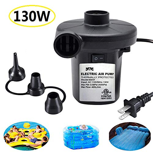 ONG NAMO Electric Air Pump for Inflatables, Portable Quick Air Pump with 3 Nozzles for Air Mattresses Beds Boats Swimming Ring Inflatable Pool Toys 110V AC (130W)