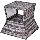 Outsunny Outdoor Patio Rattan Wicker Coffee Table Bistro Side Table w/Umbrella Hole and Storage Space, Grey