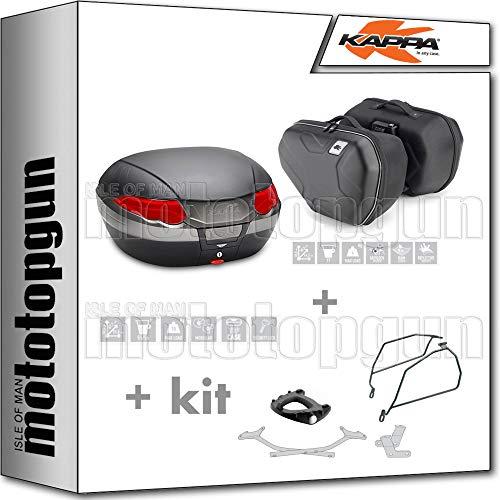 kappa maleta k56n + alforjas laterales ra314 + portaequipaje monokey + soporte alforjas compatible con suzuki gsx-s 1000 f 2020 20