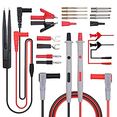 VinTeam Multi Test Leads Kit 21 in-1 Multimeter Test Lead Replaceable with Alligator Clips, Test Probe, Spring Grabber, Banana Plug - Volt Meter Leads for Voltage Circuit Tester Clamp Meter