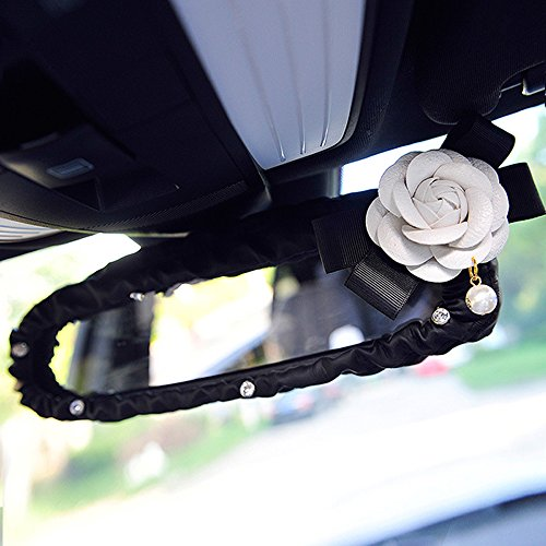 Camellia Car Interior Rearview Mirror Leather Cover