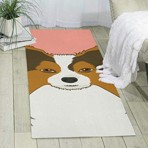 Papillon Buddy Dog Carpet Covering Bed Area Rug Fuax Fur Rugs for Bedroom Size: 70